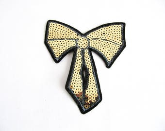 Vetica Bow Patch,Gold Bow Applique,Sew On Bow Patch,Kids Cloth Patch, Girls Clothes Applique ,Bow Embellishment,Gold Bow,DIY Bow Patch