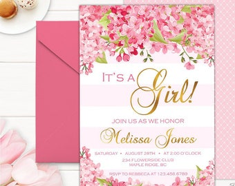 IT'S A GIRL Baby Shower Invitation, Pink and Gold baby Shower Invitation, Striped Baby Shower Invitation, Pink Stripe Baby Shower Invitation