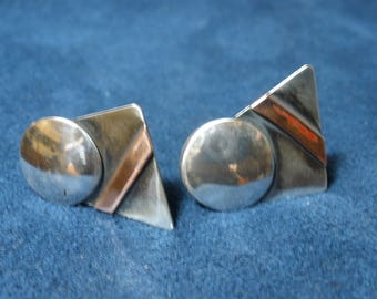 Mixed Metal Sterling Silver and Copper Disk and Rectangle Stud Earrings
