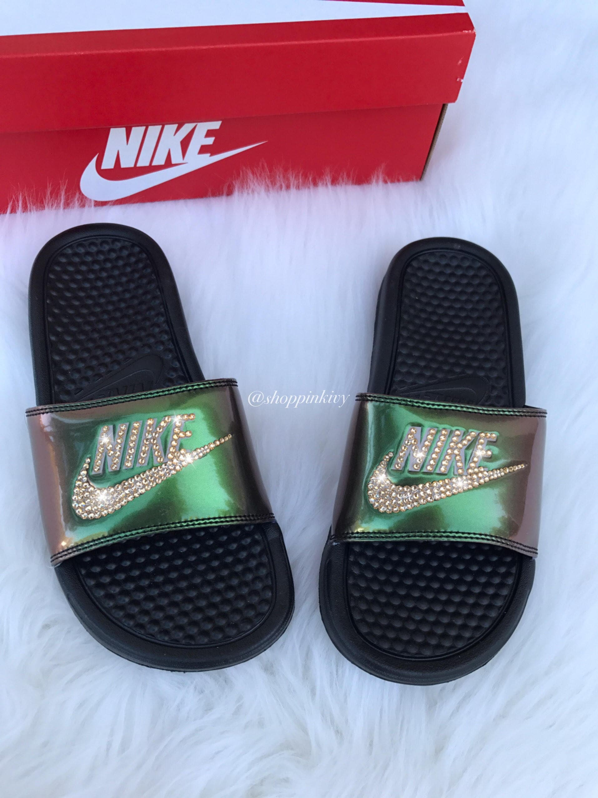 Swarovski Nike Benassi Print Slide Sandals customized with Swarovski  Crystals Bling Nike 0c4d6c505