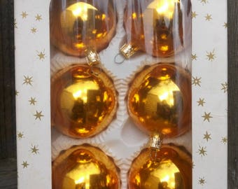 Made in Czechoslovakia, Set of 6 Gold Glass Christmas Tree Ornaments, Baubles, Balls,  Decorations in Original box