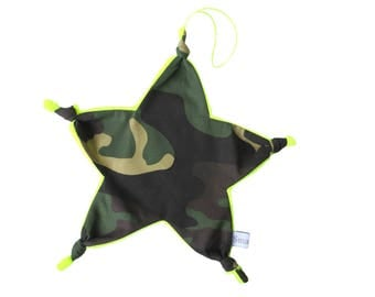 Star blanket pacifier bow shape cotton khaki military camouflage neon yellow