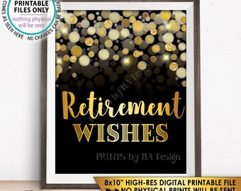 "Retirement Sign, Retirement Wishes for Retirement Party Sign, Retirement Celebration, Black & Gold Glitter 8x10"" PRINTABLE Instant Download"