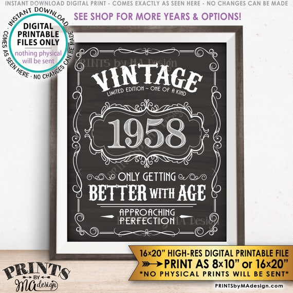 1958 Birthday Sign Better With Age Vintage Birthday Poster