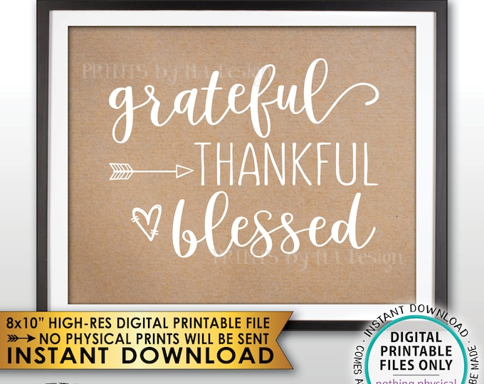 """Grateful Thankful Blessed Sign, Blessing, Thanksgiving Wall Art, Fall Decor Autumn Decor, Kraft Paper Style PRINTABLE 8x10"""" Instant Download"""