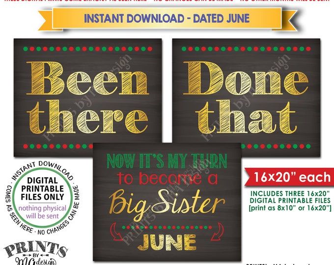 Been There Done That Pregnancy Announcement My Turn to be a Big Sister in JUNE, Christmas Theme Instant Download Printable Pregnancy Signs