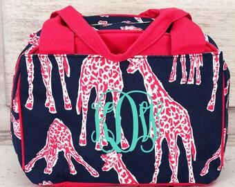 Gazing Giraffes Bowler Type Lunch Bag in Navy or Pink