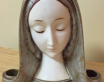 Vintage 1960's Mother Virgin Mary Madonna Religious Chalkware Candle Holder