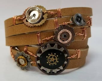 Steampunk leather wrap bracelet