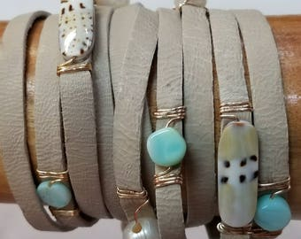 Leather wrap bracelet with Peruvian opal, Freshwater Pearls, shell bracelet