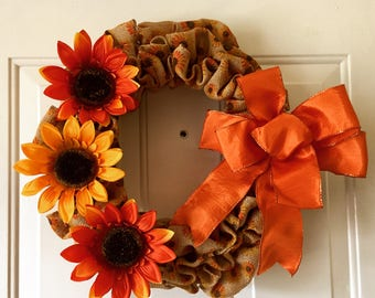 Burlap sunflower wreath!