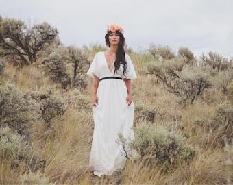 Classic cape sleeve wedding gown | Bohemian wedding dress | boho wedding dress