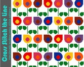 Modern cross stitch pattern of drop shaped flowers. Contemporary design in a rainbow of colours. Retro floral embroidery chart.