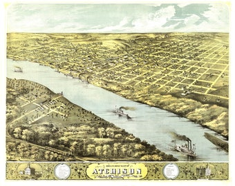 Atchison KS Panoramic Map dated 1860. This print is a wonderful wall decoration for Den, Office, Man Cave or any wall.