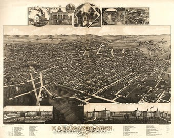 Kalamazoo MI Panoramic Map dated 1883. This print is a wonderful wall decoration for Den, Office, Man Cave or any wall.