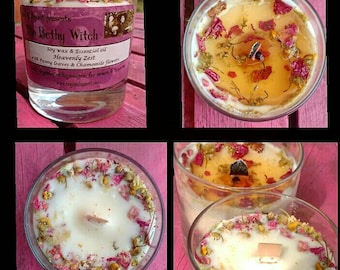 Beautiful 'Heavenly Zest', eco soy candle inset with Peony petals and Chamomile flowers
