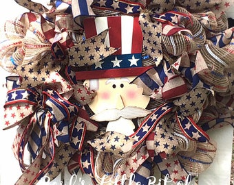SALE, Uncle Sam Wreath, Patriotic Wreaths, 4th of July Wreath, Americana Wreath, Stars and Stripes Wreath,  Summer Wreath