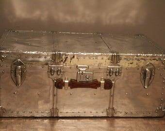 1940's Polished Aluminum Cabin Steamer Trunk