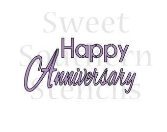 Happy Anniversary Cookie Stencil