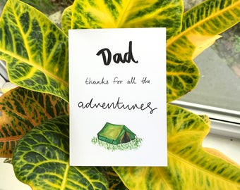 Dad Thanks for all the Adventures // Father's Day Card // Card for Dad // Outdoorsy Daddy // Camping Dad