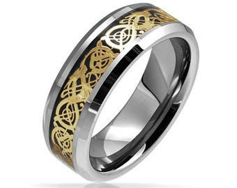8 mm Gold Black Celtic Flat Shape Tungsten Ring Wedding Band - Comfort fit