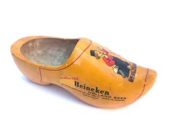 Vintage Heineken Shoe -- Wooden Yellow Heineken Shoe -- Vintage Barware -- Vintage Heineken -- Vintage Heineken Advertising -- Vintage Beer