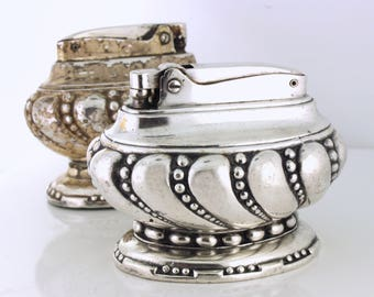 BOGO Ronson Crown Table Lighters, 1936-1954. Silver plated - OTH10164