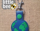 earth globe key fob snap tab project embroidery design 4x4 hoop. Instant Download! bean stitch.