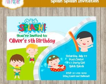 Splish Splash Invitation, Pool Party, Summer, Party Bash, Boy Invitation, Water Gun Party Invitation, Pool Birthday Invitation,  Water Bash