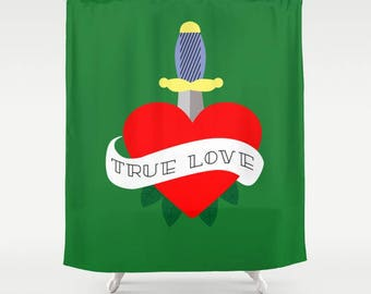 Red heart shower curtain-Valentines gift-Love curtain-Pink heart-Orange-Blue-Purple-Cool shower curtain-71x74 shower curtain-Colourful bath