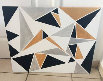 Abstract painting canvas painting triangles geometric black white Silver Gold