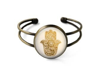 Hamsa Cuff Bracelet | Hamsa Bracelet Hamsa Jewelry Bohemian Jewelry Boho Bracelet Hand of Fatima Evil Eye Protection Bracelet Gold Hamsa