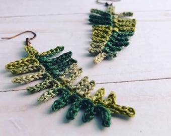 Crocheted Fern Earrings/ Green Leaf Earrings/ Nature Jewelry