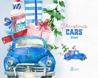 Christmas Cars Blue. Watercolor holiday clipart, vintage, retro truck, gifts, Christmas tree, cards, xmas, merry, holly, greetings, diy