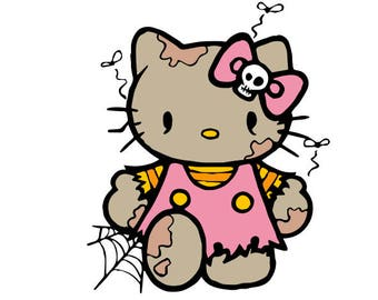 Zombie Hello Kitty SVG, Halloween SVG,svg files, halloween hello kitty svg,svg instant downloads