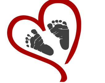 Heart with Baby Footprints svg,dxf,eps,png,jpg,and pdf files,Valentines Day SVG,Valentines for Babies SVG,Silhouette Files,Cricut Files,