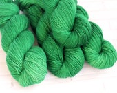 Emeral Isle - Sock Yarn - Hand Dyed Semisolid Yarn - Extrafine Merino Nylon - Fingering Hand Dyed - Bright Vibrant Green - Tonal Highlights