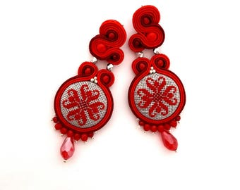 Red earrings, statement earrings, embroidered earrings, boho earrings, flower earrings, burgundy earrings, long earrings, textil earrings