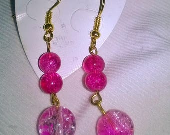 Handmade hot pink earrings
