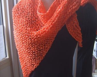 Trendy shawl orange mesh
