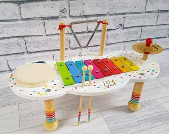 Personalised Child Music Table, Musical Instrument, Wooden Toy, Music, Multi Colour