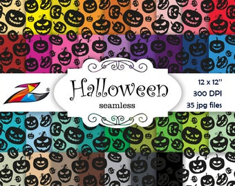 Seamless paper Halloween Digital Paper Commerical Use Seamless pattern Pumpkin digital paper scrapbook Halloween background