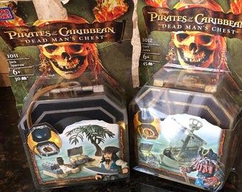 Mega Bloks Pirates of the Caribbean Dead Man's Chest 1012 Davy Jones and 1011 Jack Sparrow (2) NRFB