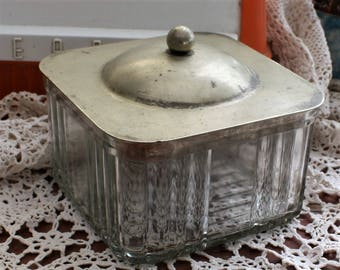 Ribbed Glass Refridgerator Storage with Classy Silver Plated Lid - Mid-Century