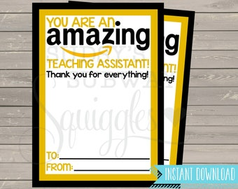 PRINTABLE Amazon Gift Card Holder, Thank You for being an Amazing Teaching Assistant Gift, End of the Year Gift, TA,  Para Professional