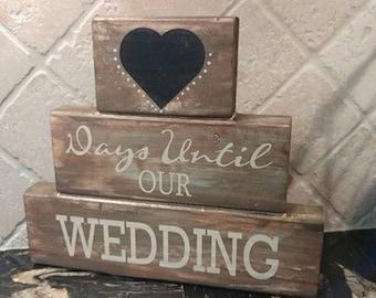 Reversible Wedding Countdown Mr & Mrs Block Set