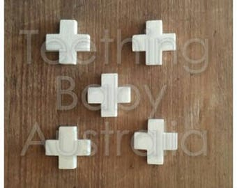 20mm BEECH WOOD BEADS -  swiss cross X -  Natural Eco Wood beads- Organic- Wooden - non toxic - Wholesale
