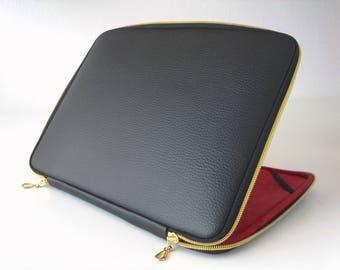 Macbook 12 inch case,retina,Black leather macbook air 11 case,leather case,air 11 sleeve,leather laptop bag,gold zipper,classic,macbook case