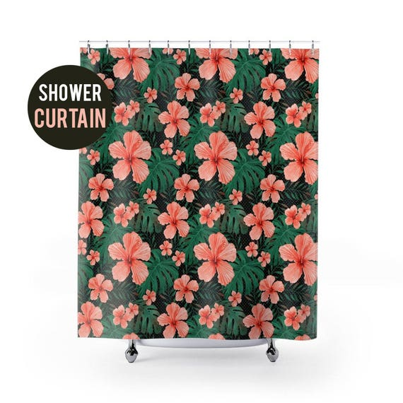 Shower Curtain Hibiscus and Palm Pattern Shower Curtain