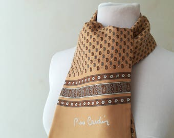 Pierre Cardin scarf for men in silk and vintage wool.